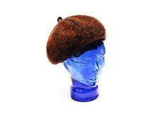 Vintage wool basque flat cap hat, orange brown newsboy messenger winter autumn beret tam, 1980s medium size women's fashion accessory gift by Aerosvar