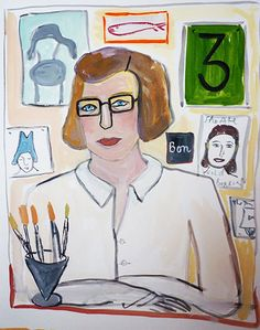 Maira Kalman...  a brilliant illustrator & writer. One of my all-time favorites, I marvel at her work! (self-portrait)