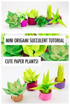 Learn how to make an origami succulent! These origami plants make perfect gifts & decorations your friends will love them. No cutting or glue required. The post Mini Origami Succulent Plants Tutorial appeared first on Easy Crafts. Mini Origami, Origami Simple, Instruções Origami, Cute Origami, Origami Ball, Paper Crafts Origami, Paper Crafts For Kids, Paper Crafting, Simple Paper Crafts