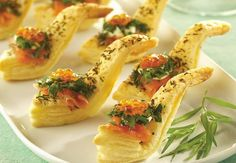 Smoked Salmon Puff Spoons with Creme Fraiche and Fine Herbs