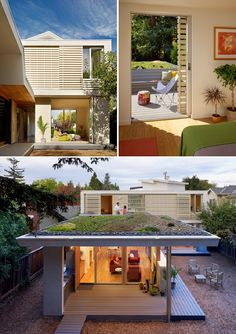 large screens on upper windows are low-tech way to protect interior from sun's rays, provide natural light... green design elements include energy-efficient lighting, good insulation, renewable material finishes, radiant heat, and roof pre-wired for future pv panels... reduce your consumption to begin with before you harness more power: good insulation, efficient heater, those things that waste energy... living roof planted with succulents ~ 2 bar house by http://feldmanarchitecture.com…