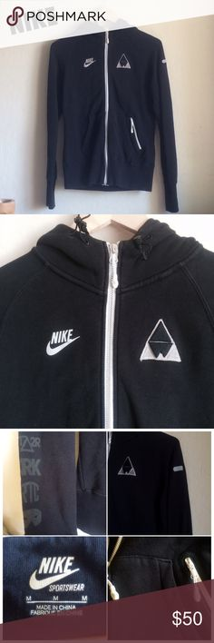 RARE Nike Zip Up Hoodie ACCEPTING OFFERS!!. No low ballers. No trades. Used but good condition. One of my FAVORITE jackets but I don't use it anymore. It does have minor/light fading to the entire hoodie so please take that into consideration. No rips or holes. This jacket is no longer sold anywhere. Size medium but can fit a small. Cute with leggings and sneakers. Retail $110 Nike Tops Sweatshirts & Hoodies