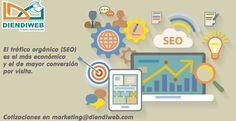 El trafico orgánico (SEO) es el más económico y el de mayor conversión por visita. Cotizaciones en marketing@diendiweb.com