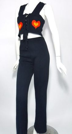Folk Inspired Navy Knit Vest and Pants with Hearts circa 1970s by Jean - Dorothea's Closet Vintage