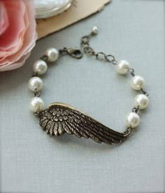 Wings of Love.  An Oxidized Brass Large Angel Wing Bracelet.  Gifts for Sisters. Angelique. For Mom.