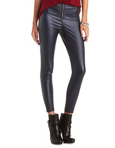 Zip-Up Coated High-Waisted Skinny Pants: Charlotte Russe