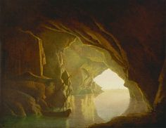 Joseph Wright of Derby, A Grotta in the Gulf of Salerno, Sunset