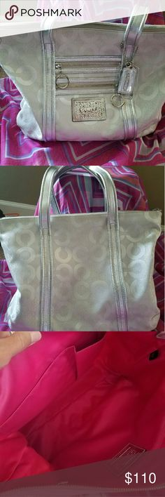 Coach Poppy tote.  Shoulder straps. Fun fabulous silver n grey tote, with a zip top. Very clean make me and offer!! Coach Bags Shoulder Bags