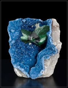 malachite with shattuckite and quartz