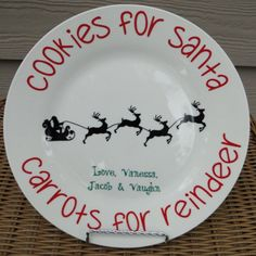 This adorable white porcelain personalized plate, will make the tradition of putting out cookies for Santa even more special each year.    This