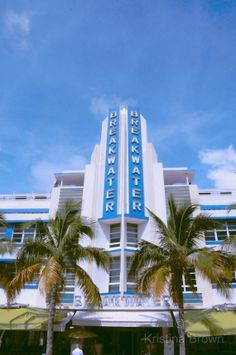 South Beach Miami Florida Photo, Architecture Photography, Art Deco, Palm Trees, Fine Art Print, Breakwater Hotel, Blue Green by SilverBirdBoutique.etsy.com
