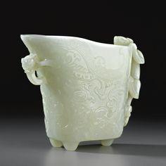 A FINE WHITE JADE RHYTON QING DYNASTY, 18TH CENTURY Estimate  60,000—80,000 USD LOT SOLD.  92,500 USD  15/11/10 ||| sotheby's n08659lot5sbrken