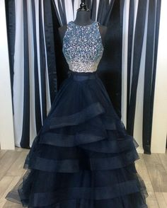 Two Piece Prom Dresses,Ruffles Ball Gowns,Sparkly Sequins Dress,2 Piece Prom Dress,Long Party Dress,Prom Dresses 2017,Black Prom Dress