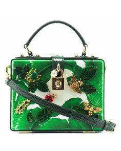 Dolce   Gabbana   Multicolor Dolce Box Embellished Leather And Snakeskin Bag    Lyst Green Bag d6f03cd6a9