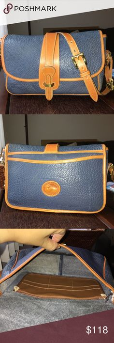 "VTG Dooney Bourke AWL Equestrian-Air Force Blue! Vintage authentic Dooney & Bourke AWL (all weather leather) Equestrian Crossbody Bag in RARE Air Force Blue! Overall in good condition. Some white marks on the back, noticeable wear on the 2 front corners, minor signs of wear and marks here and there. Inside has some pen marks and small spots. Measurements: 10""W x 7""H x 3.5""D. Strap drop: 19.5"" (at Shortest Notch).  See my other fabulous listings. Smoke/pet free home. Dooney & Bourke Bags…"
