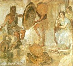 Book XVIII Hephaestus and Thetis with the finished armor for Achilles.  [Roman fresco, Pompeii]