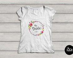 JGA T Shirt_Bridal Shower Shirt Floral| Boho| Wreath|  Junggesellinnenabschied| Wedding Vintage Wedding Invitations, Wedding Vintage, Bridal Shirts, Team Bride, Personalized Invitations, Boho, Shirt Shop, Marie, How To Memorize Things