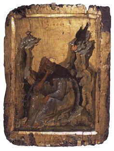 Icon: Prophet Elijah in the Wilderness Byzantium, Thessalonike, Late century Byzantine Icons, Byzantine Art, Christian Paintings, Christian Art, Religious Paintings, Religious Art, Paint Icon, Hermitage Museum, Best Icons