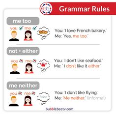 either   neither   too me neither or me either   me too   English Grammar rules   English vocabulary   neither or either  