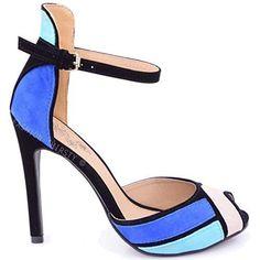 Fashion Thirsty - Sandale Femme Talon Haut F6ete Soirée Ouvert Bride Cheville Neuf - Daim bleu roi/noir, 36