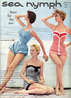 i love vintage suits. theyre adorable! oh how much swimwear has changed./: i love vintage suits. theyre adorable! oh how much swimwear has changed. Moda Vintage, Vintage Mode, Vintage Bathing Suits, Vintage Swimsuits, 1950s Bathing Suit, Modest Swimsuits, Image Fashion, Look Retro, Retro Style