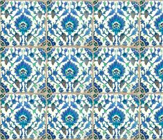 6 inch Antique Blue Tile fabric by elramsay on Spoonflower - custom fabric