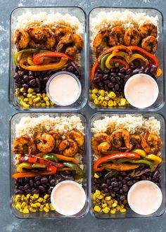 Quick 30-minute meal-prep burrito bowls loaded with spicy shrimp, fajita veggies, black beans, brown rice, and a spicy 2 ingredient
