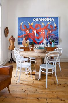 An Orangina poster, reproduction French table, and Bentwood chairs. Photo Deco, Turbulence Deco, Melbourne House, Melbourne Apartment, Bentwood Chairs, Piece A Vivre, Interior Exterior, Modern Interior, Eclectic Style