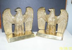 solid brass eagle bird bookends PAIR outstretched wings vintage