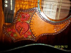 Hand Tooled Leather Guitar Pick Guard by POPSLEATHERSHOP on Etsy, $30.00