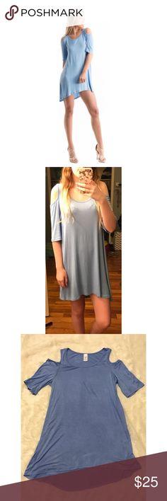 Spotted while shopping on Poshmark: Dusty blue cold shoulder tunic! #poshmark #fashion #shopping #style #Fashionomics #Tops