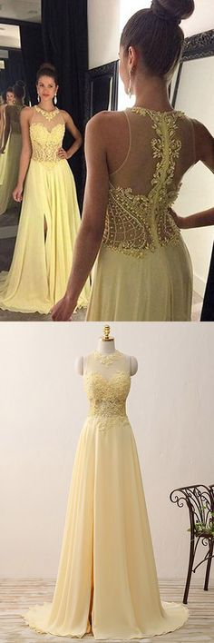 Long Prom Dresses Yellow, A-line Formal Dresses Daffodil, Chiffon Tulle Party Dresses Lace Girls, Modest Evening Gowns Cheap