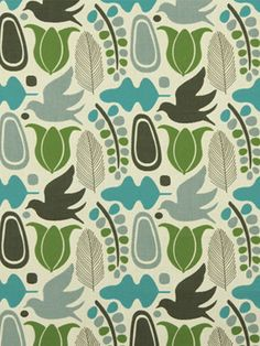 Turquoise Bird Upholstery Fabric by the Yard. by greenapplefabrics, $115.00