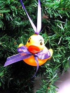 Baby Rubber Ducky Christmas Ornament with Purple Ribbon | Wyverndesigns - Seasonal on ArtFire @Wyvern Designs