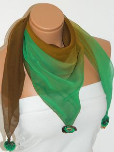 Brown Green Scarf Turkish Chiffon Fabric by WomanStyleStore, $16.00