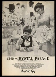 1974 Crystal Palace ice cream parlour Marshall Field's Chicago store photo ad