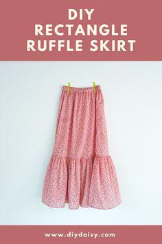Skirt Patterns Sewing, Clothing Patterns, Pattern Skirt, Skirt Sewing, Fashion Sewing, Diy Fashion, Ruffle Skirt Tutorial, How To Make Skirt, Diy Dress