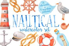 Watercolor nautical set by Just_create on @creativemarket