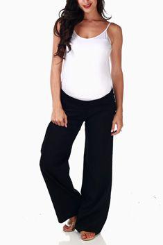 Black Linen Maternity Pants