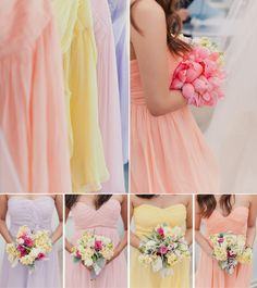 Pretty Pastel Tones Bridesmaid Dresses for Spring/Summer Wedding 2014 this is what I have in mind! But with a pastel mint color for Andrea :) Pastel Bridesmaids, Bridesmaids And Groomsmen, Wedding Bridesmaids, Bridesmaid Dresses, Wedding Dresses, Rainbow Wedding, Summer Wedding, Our Wedding, Dream Wedding
