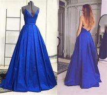 Royal Blue Sexy Long Evening Dresses Deep V Neck A-line Backless Women Formal Evening Wear Spaghetti Straps Simple Evening Gowns(China (Mainland)), 100 euros