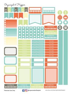Free Printable Spring Colors Weekly Planner Stickers from Organized and Happier
