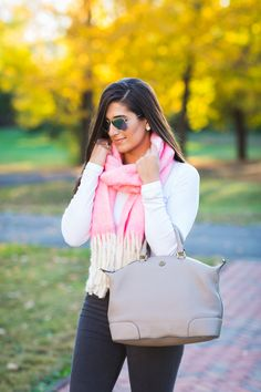 oversized scarf, anthropologie scarf, anthropologie outfit, fall style, fall fashion, pink scarf, blanket scarf, pink blanket scarf, gray distressed denim,  tory burch slouchy satchel, fall outfit ideas // grace wainwright from a southern drawl