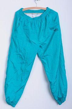 Kingway Mens L Nylon Sweatpants Turquoise Shiny Sport Training - RetrospectClothes