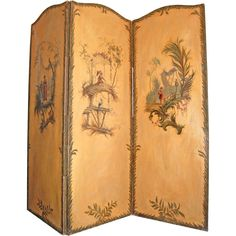 1stdibs | 19th c. Three Panel Painted Chinoiserie Screen