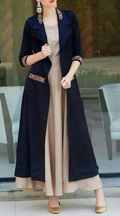 Long Kurti With Jacket And Embroidery Work Abaya Fashion, Muslim Fashion, Women's Fashion Dresses, Cardigan Fashion, Kurti With Jacket, Gown With Jacket, Stylish Dresses, Casual Dresses, Modele Hijab