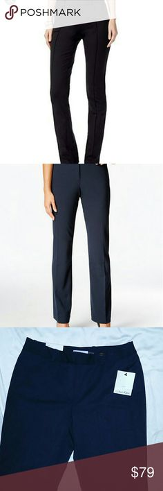 NWT Calvin Klein Navy Fitted Straight leg Slake 6 New with tags attached Retail $89.50 plus tax  Very classy Pleated down middle in front 74% Polyester 22% Rayon 4% Spandex Lining 100% Polyester  Dry clean only  Bundle & Save 10% Feel free to make an offer with the offer button!  Pair these beautiful medium rise dress pants with a basic white T for the perfect look! Calvin Klein Pants Straight Leg