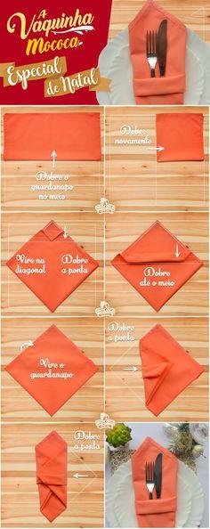Aprenda a dobrar guardanapos em forma de Porta Talheres para dar um toque diferente e sofisticado na sua ceia.