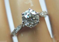 Antique European Diamond Engagement Ring Solitaire 14K Art Deco Vintage Bridal