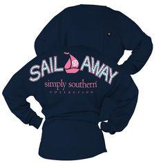 Simply Southern Sail Away Sailboat Sweeper Long Sleeve Oversized Top Pocket Shirt